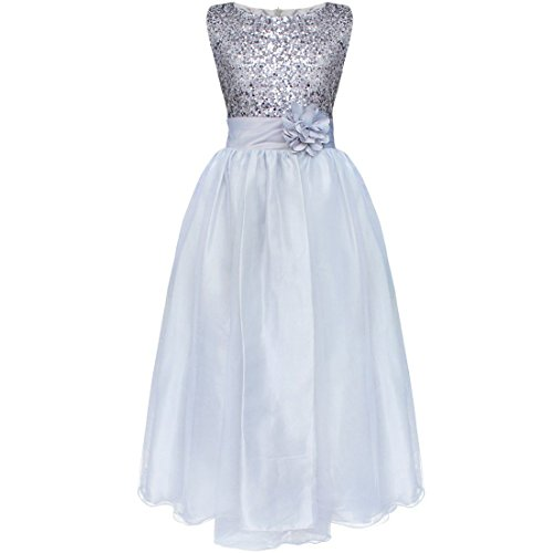 SmileWoman Kids Girls Sequined Wedding Dress Bridesmaid Formal Christmas Party Gown (Kids Christmas Dress)