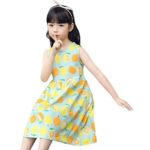 Girls Kids Floral Dresses Summer Halter Beach Sleeveless Casual Holiday Party Printing Skirt Green -
