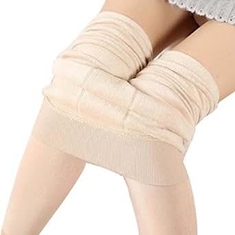 Wensltd Womens Fleece Lined Leggings Winter Thick Warm Stretchy Pant (Beige)