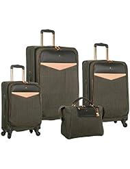 Vince Camuto Sharine 4 Piece Luggage Set, Black/White