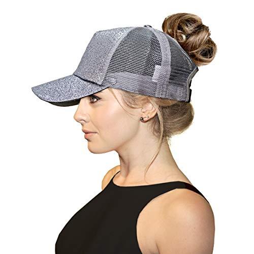FADA Glitter Ponytail Hats Magic Sequin Ponycap Messy Bun Cap Dad Hat for Women Girl