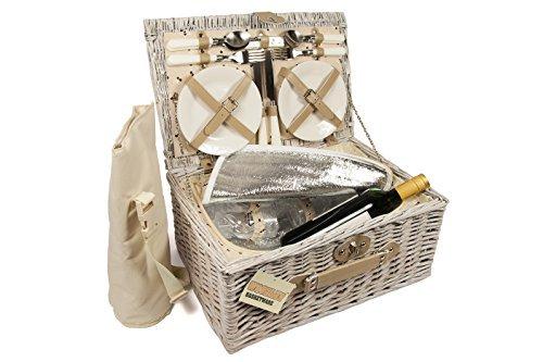 Picknickkorb-fr-4-Personen-mit-traditionellem-aus-natrlicher-Weide-Geschenkkorb-mit-Seitenriemen-Griff-zum-einfachen-Tragen