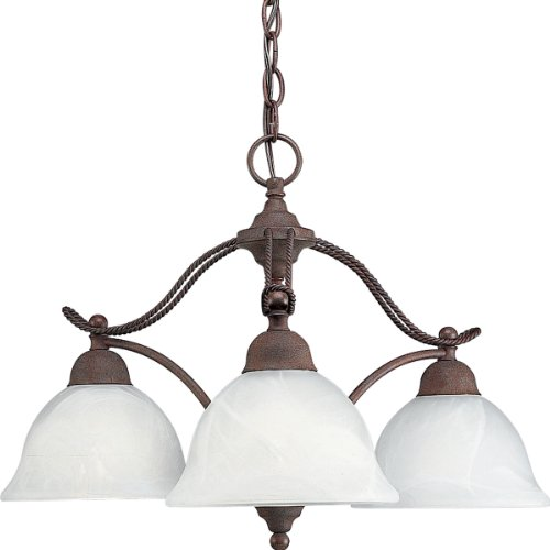 - Progress Lighting P4070-33 3-Light Chandelier with Swirled Alabaster Glass, Cobblestone