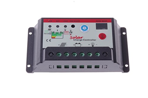 SMAKN® 12V/24V 10 Amp PWM Charge Controller Regulator Off Grid for Battery Charging