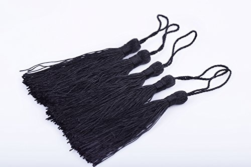 (KONMAY 20pcs Silky Handmade Tiny(3.5'') Soft Craft Mini Tassels with Loops for Bookmarks Jewelry Making, Decoration DIY Projects (Black))
