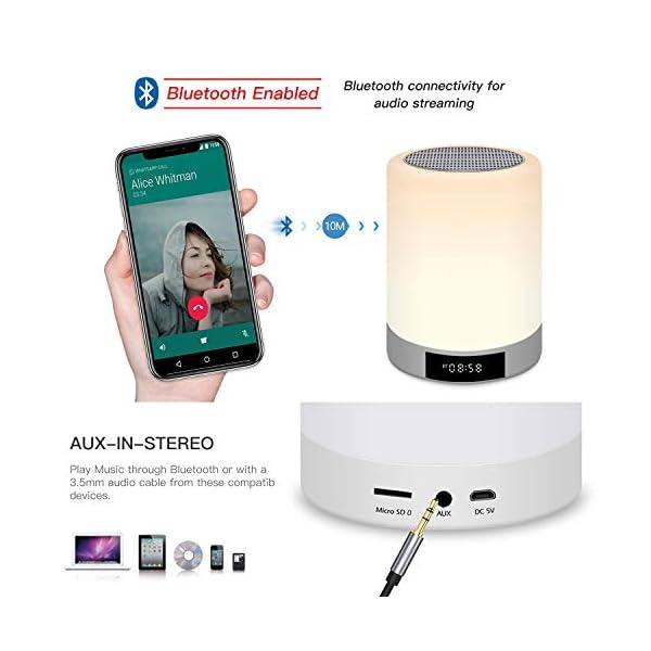 Lampe de Chevet Tacile Rechargeable Portable, Lampe de Table Enceinte Bluetooth Musique, FM Radio Réveil Lumière LED Multicolor Mains Libres pour Chambre à Coucher, Bureau, Salle de bébé Tikitaka 3