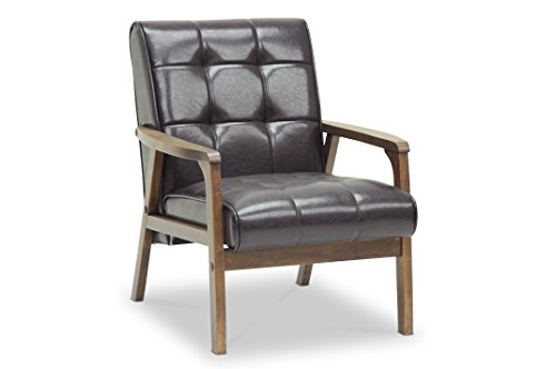 (Baxton Studio Mid-Century Masterpieces Club Chair, Brown)