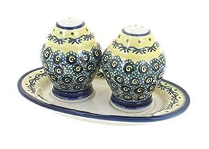 Polish Pottery Renaissance Salt & Pepper Shakers with Dish