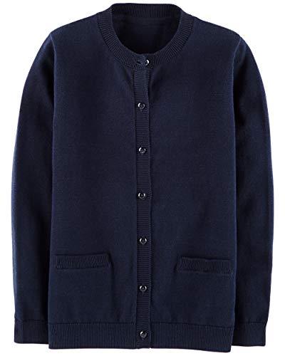 Osh Kosh Girls' Kids Cardigan Sweater, Navy, 7