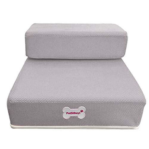 - Hisoul Hot  Pet Stairs Soft Cover Breathable Mesh Foldable Pet Stairs - Soft, Comfortable, Washable Breathable, Detachable Pet Bed Stairs Dog Ramp - 2 Steps Ladder , for Older Ailing Pets (Gray)
