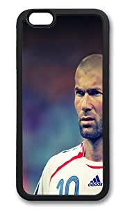 iPhone 6 Case Cover - Zidane Face Sports Art Shockproof TPU Rubber Soft Case for iPhone 6 4.7 inch Black