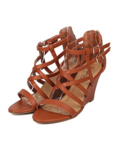 Alrisco Kvinnor Strappy Kil Sandal - Enda Enda Kil Sandal - Sommar Dressat Mångsidig Sandal - Hb27 Genom Dbdk Samling Kamelläder