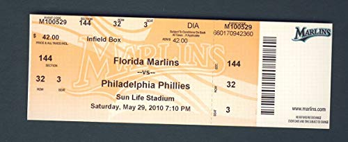 2010 Marlins vs Phillies Unused Ticket Roy Halladay Perfect Game 5-29-10 124679