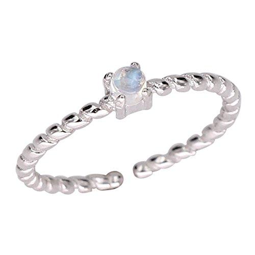Luna Azure Natural Moonstone Sterling Silver 925 Adjustable Fine Ring Fine Mens Ring