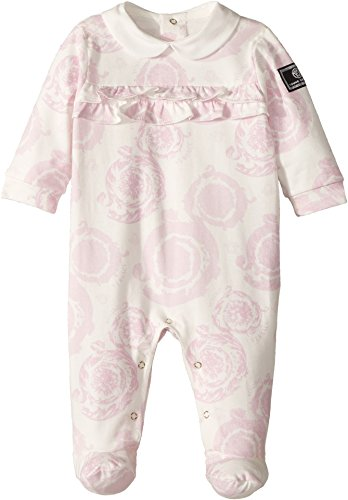 Versace Kids Baby Girl's All Over Barocchino Print Collar Footie (Infant) Pink - Girls For Versace