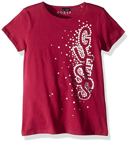 Guess Girls' Little Angeleica Short Sleeve Glitter T-Shirt, Raspberry Wine, 4 -