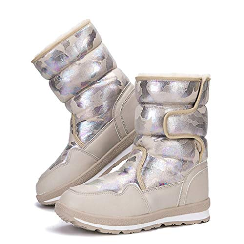 Boys & Girls Winter Warm Fashion Style Insulated Waterproof Short Plush Lined Snow Boots