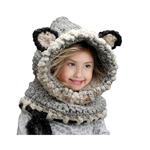 HEEMAA-Winter Kids Warm Fox Animal Hats Knitted Coif Hood Scarf Beanies for Autumn Winter (gray)