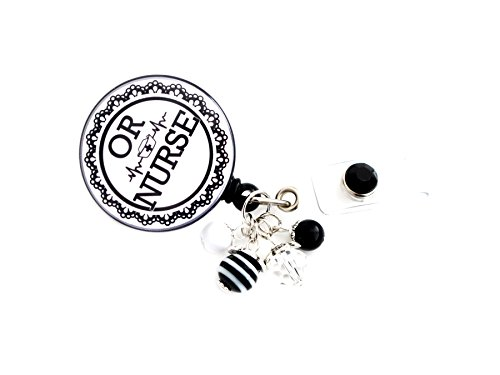 OR Operating Room Surgical Nurse Retractable Badge Holder (Black Lace)