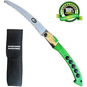 SPORTSMAN FOLDING HAND SAW - 10 Inch Long CURVED BLADE & Nylon Sheath 5yr Guarantee Best Tree Trimmer, Pruning Saw for Camping Gear, Hunting, Survival Kit or Gardening. Rips Through Wood & Bone