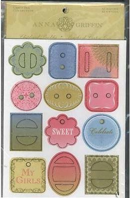Anna Griffin Carolina Collection Scrapbook - 12 Pieces Chipboard Buckles (Scrapbook Griffin Anna)