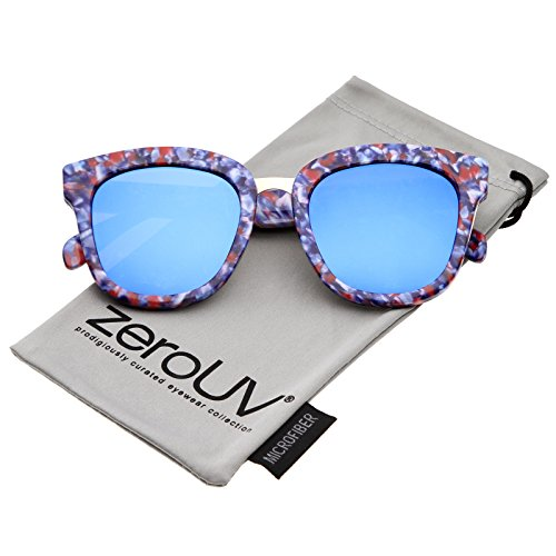 zeroUV - Marble Printed Metal Nose Bridge Trim Wide Temples Mirrored Flat Lens Horn Rimmed Sunglasses 50mm - Sunglasses Zeiss Lens