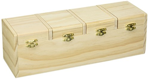 Darice Unfinished, 12.254 x 4 inches Wood Box with Hinged Lid