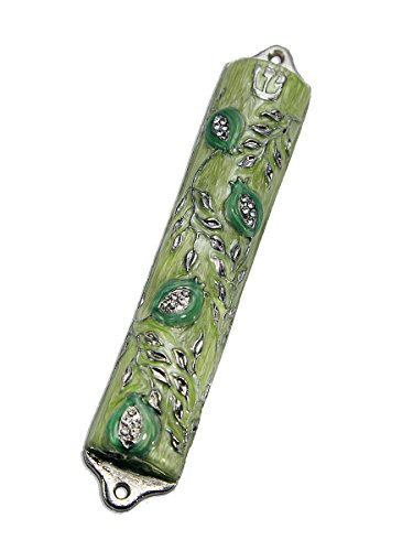 Bless This House, Mezuzah Case - Mezuzah Cover, Pomegranate Tree Design Crafted in Pewter, Jerusalem Judaica, Israel, Door Mezuza Case 4