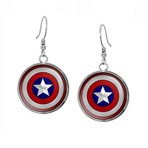 Necklace Present Earrings Gift - Captain America Earrings, The Avengers Jewelry, Shield Pendant, Superhero Gifts Gift, Geek Geeky Present Presents