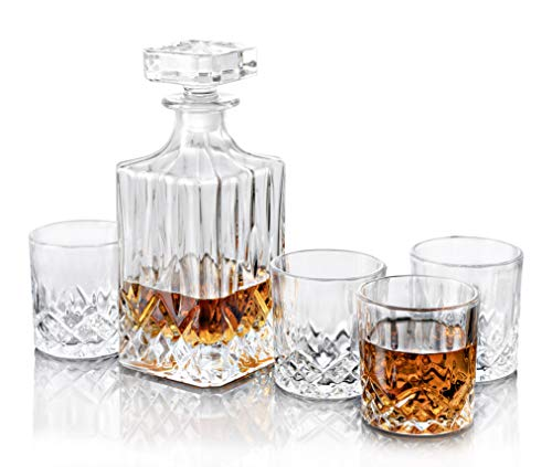 Trinkware Cranford Whisky Decanter Set - 5 Piece Bar Set - Square Decanter With Stopper And 4 Dof Glasses - Lead-free Dishwasher Safe Glassware For Whiskey Scotch Wine Liquor - -