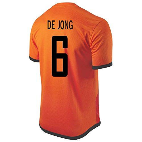 Holland Home Shirt - Nike De Jong #6 Holland Home Soccer Jersey (M)