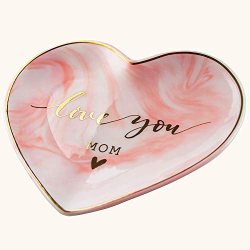 VILIGHT Mom and Mother in Law Gifts from Daughter and Son - Love You Mom Jewelry Tray - Marble Pink Heart Ceramic Jewelry Holder Dish - Large Size 5.5 Inches