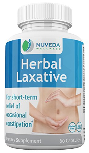 NUVEDA Wellness Herbal Laxative 60 Veggie Capsules With Aloe Vera & Dandelion Extracts | Soft, Safe & Efficient Dietary Supplement For Constipation | Improve Bowel Movement & Promote Colon Cleansing