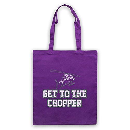 Get To The Chopper Funny Arnie Slogan Bolso Morado