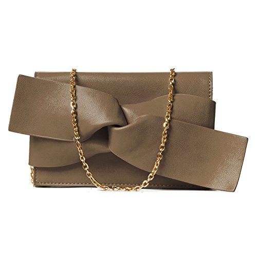 Handbag Republic Women Handbag PU Leather Fashion Evening Clutch Bag Messenger Style With Cute Bow Tie (Clutch Style Evening Bag)