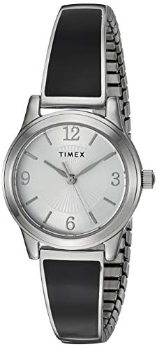 Timex Women's TW2R92700 Stretch Bangle 25mm Black/Silver-Tone Expansion Band Watch