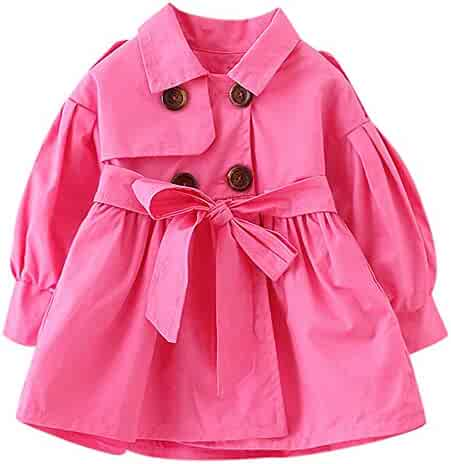 e133a693a Boys Girls Windproof Trench Coat 0-5 Years Old 🎅 Fashion Double Breasted  Solid with