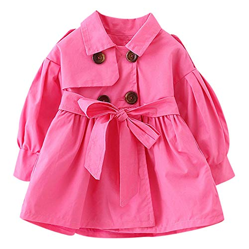 Keliay Bargain Toddler Infant Baby Boys Girls Solid Belt Bottons Trench Wind Coat Tops Outfits ()