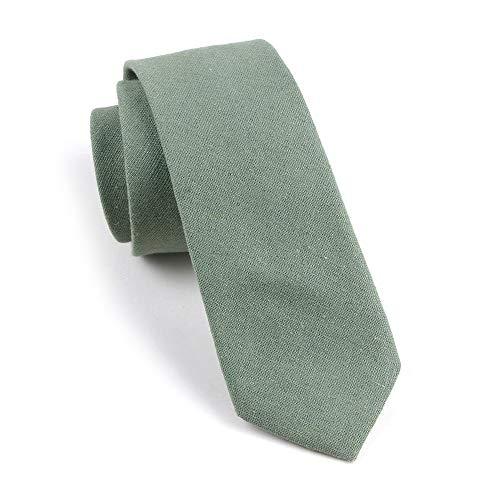 Men Skinny Mint Green Ties Cotton Timeless Narrow Width Best Neckties for Grooms