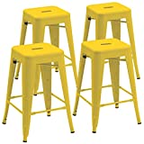 Duhome 4 pcs 24'' Metal Chairs Tolix Style Stackable Dining Stools Indoor Outdoor Restaurant Cafe Industrial Design (Yellow)