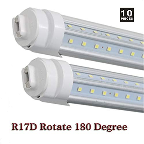 T8 T10 T12 LED Light Tube ,8ft 65W R17d (Replacement for F96T12/CW/HO 150W),Dual V-Shape 8Ft Tube Light, 6000-6500K Clear Lens,Dual-Ended Power,Pack of (Ho Fluorescent Electronic)