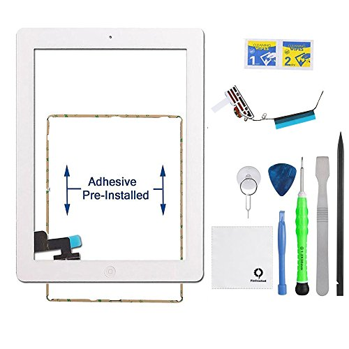 (Fixcracked Touch Screen Replacement Parts Digitizer Glass Assembly for Ipad 2 + WiFi Antenna Cable & Professional Tool Kit (White) )
