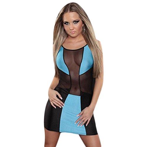 Blue DDLBiz Hip Women Bandage Dresses NightClub Dress Package Perspective 4AfOq4wv