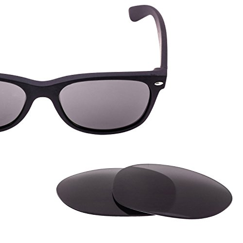 LenzFlip Replacement Sunglass Lenses for Ray Ban New Wayfarer RB 2132 (Size 55mm) - Gray Black Polarized Lens - 2132 Wayfarer