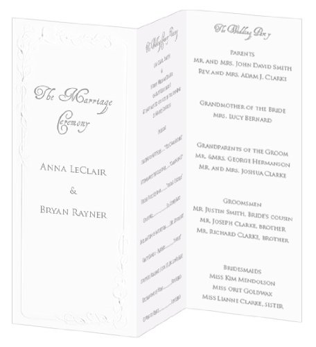 (Calla Lily Invitation, Program, Trifold, Radiant White Cardstock, 65lb, 50 Pack )