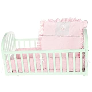 Baby Doll Bedding Gingham with Bear Applique Cradle Bedding Set, Pink