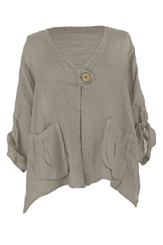 Ladies Women Italian Lagenlook One Wooden Button Pocket Linen Jacket Shrug Bolero Cardigan One Size (Mocha, One (Linen Shrug)