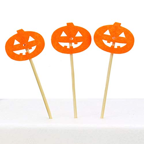 36 Pack Orange Pumpkin Fall Cupcake Toppers Food Picks Party Supplies for Baby Shower Kids Birthday Fall Halloween Party Decor - 4x1.5 inches