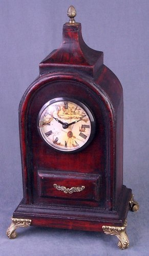 AA Importing Antique Style Wood Tabletop Clock w Brass Tone Feet & Accents