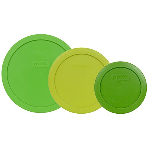 Pyrex 7402-PC Green 7201-PC Edamame 7200-PC Lawn Green Round Plastic Lids - 3 Pack